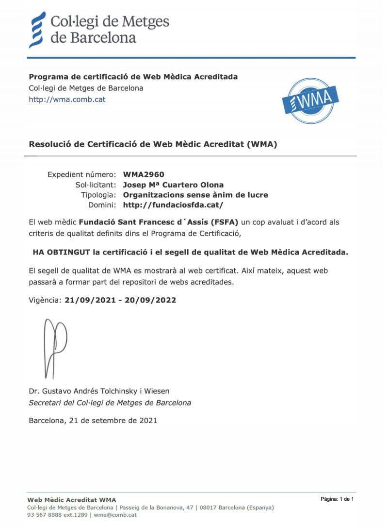 Certificat WMA Web Mèdica Acreditada - Miniatura